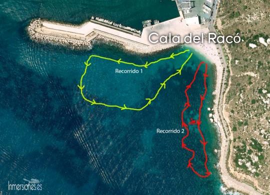 Mapa de la inmersión, Cala del Racó