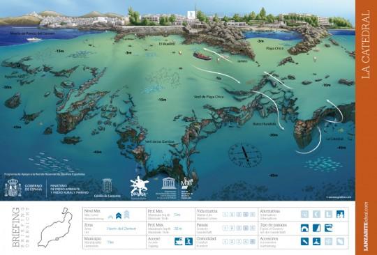 """Mapa de la inmersión """"La catedral"""" de Lanzarote"""