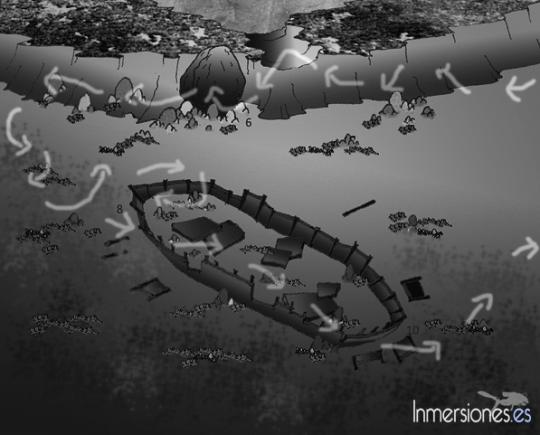 Mapa de la inmersión de la barcaza
