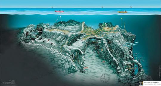 """Plano de """"La Catedral"""" realizado por Oceanográfica"""