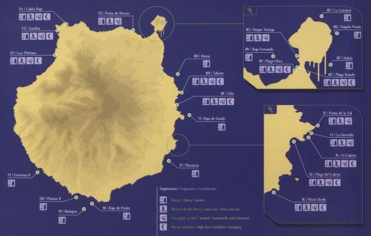 Plano de las inmersiones en Canarias