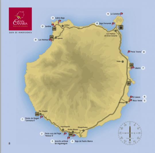 Mapa de las inmersiones de Gran Canaria