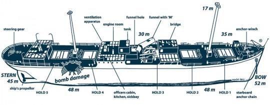 Plano de la inmersión del Rosalie Moller