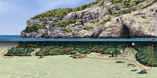 Plano de la inmersión en Pared Negra, haz click para ampliar
