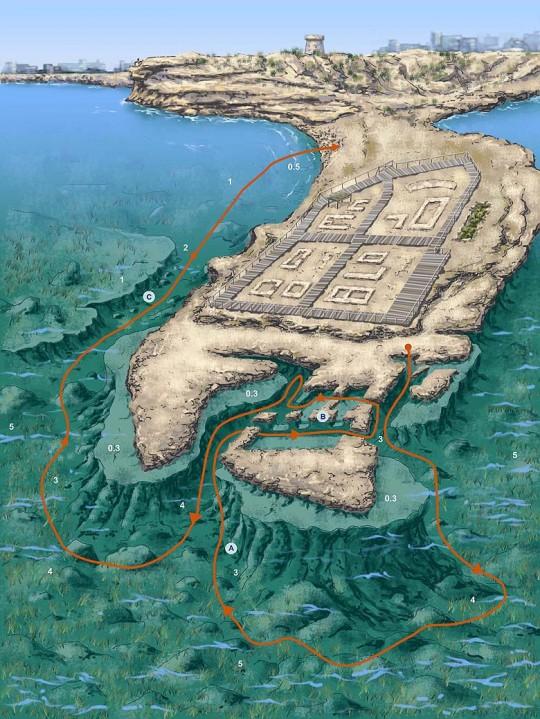 Plano de la inmersión Los Baños de la Reina, haz click para ampliar