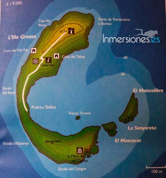 Plano de la Isla Grossa, Columbretes